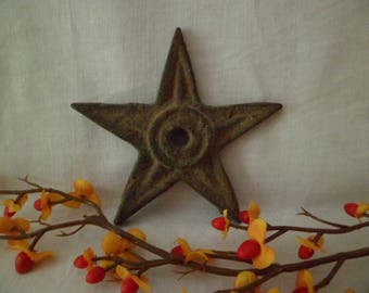 """Antique Vintage Small 4""""Cast Iron Architectural Building Star Salvage From PA #7"""