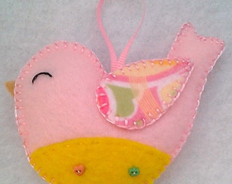 Handmade felt bird ornament
