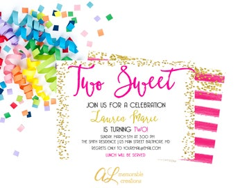 Two Sweet Girl 2nd Birthday Invitation, Hot Pink and Gold Birthday Invitation, Girl Birthday Invitation, Two Sweet, 2nd Birthday, Digital