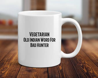 Vegetarian Mug, Vegan Mug, Vegetable Mug, Hunting Mug, Funny Vegan Mug, Vegetarian Gift, Gardener Mug, Gift for Her, Friends Not Food Mug