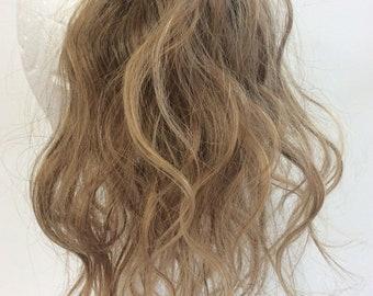 golden blonde human hair scrunchie 6/27  12 inches