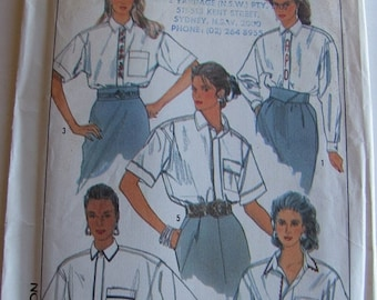 ON SALE 1980's Sewing Pattern - Simplicity 9027 Long or short sleeved shirt with monograms Size 10 - 14 Uncut and factory folded