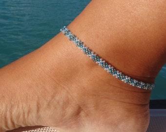 Blue Beaded Anklet, Diamond Daisy Chain Ankle Bracelet, Seed Bead Anklet, Summer Fashion UK, Beach Anklet, Beadwork Jewellery,