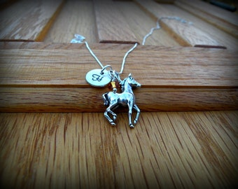 Sterling silver pony necklace, horse necklace, western necklace, country girl