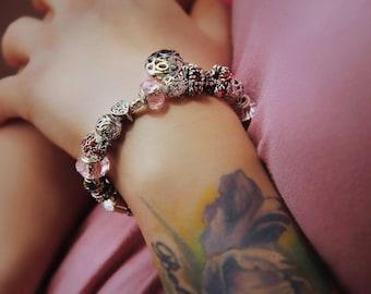 Sterling Silver Pink Charm Bracelet