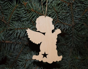Set of 5 wooden Christmas tree toys New year's toys Christmas ornaments Christmas decoration Christmas gift idea Wood shape angel craft