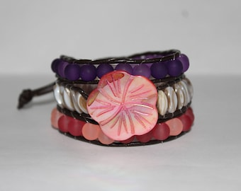 Women's Seashell and Sea Glass Wraparound Bracelet