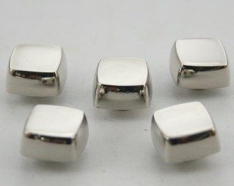 5 pcs.Silver Tone Flat Head Square Screwback Studs Leathercraft Decorations Findings 11x7 mm. BS N 0805 SCB 87