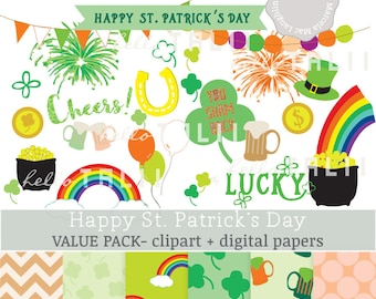 SALE! St Patrick's Day Clipart+ St Patricks Digital Papers- Happy St Pat's Day Bundle Clover Shamrock Rainbow Irish Bunting Flags Clip art