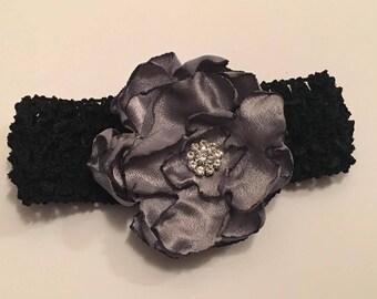 READY TO SHIP Baby Headband, Toddler Headband, Elastic Headband, Black Headband, Flower Girl Headband, Flower Headband, Hair Accessories