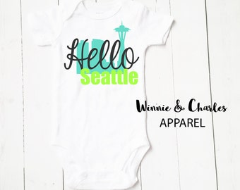 Hello World Onesie, Baby Onesie, Seattle Baby, Newborn Outfit, Hospital Outfit, Take Home Outfit, Coming Home Outfit, Baby Shower Gift