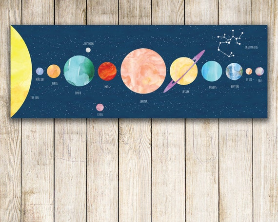 Kids Solar System Print Personalized! Planets Print, Canvas Print, Boy Gift, PersonalizedToddler Gift, Personalized Kids Gift - KA0001