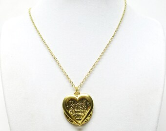 """Gold Plated """"Always Sisters/Always Friends"""" Round & Heart Pendant Necklace"""