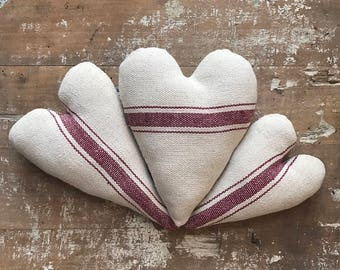 Set Of 3 Heart Cupboard Ornament Love Bowl Fillers Farm House Grain Sack Red Ticking