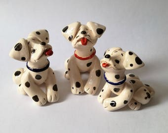 Ceramic dog figurine, Dalmatian figurines, Pottery dog, Ceramic animal figurines, Pottery figurine, Handmade dog