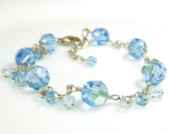 Aquamarine Swarovski Crystal Bracelet, Sterling Silver, Teal Wedding Jewelry, Bridesmaid Gift, March Birthday, Handmade December Birthstone