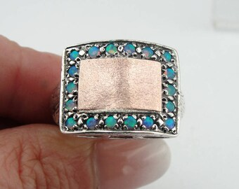 Rectangle 925 Silver solid 9K Rose Gold Opal Ring size 7, Blue Opal Ring, Opal Jewelry, Blue Stone Ring, Birthday Gift, Free Shipping (sp 10