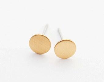 Tiny Gold Stud Earrings, Circle Studs, Tiny Earrings, Minimal Studs, Dainty Circle Earrings, Everyday Studs, Gold Earrings, Casual Earrings