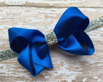 Blue baby headband - baby headband, baby headbands, baby headband bows, baby girl headband, newborn headband, baby bow headband, baby bows