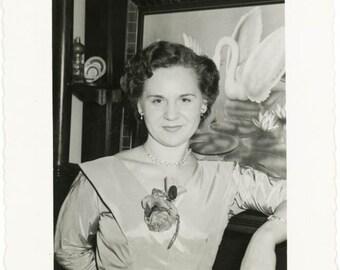 1957 Rose Dress Confident Woman Swan Painting Snapshot Vernacular vintage photo