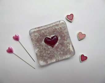 Earring ring dish pink heart fused glass birthday christmas childs teachers bridesmaids gift Mothers Day stocking filler wedding favour