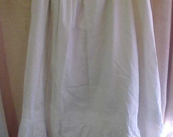 Vintage -Victorian White Cotton  Petticoat with Lace  AS IS     #3372
