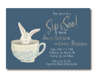 Sip and See Baby Shower Invitation,  Bunny Baby Shower Invitation, Meet and Greet, Digital Printable Invitation 0532