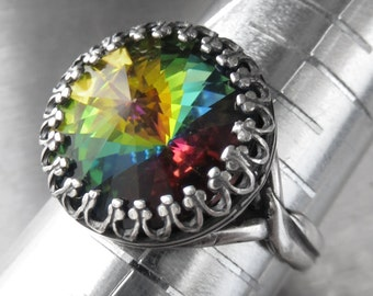 Rainbow Crystal Ring, Swarovski Crystal Rivoli Ring, Vintage Style Crown Antiqued Silver Adjustable Ring, Green Blue Yellow Crystal CR14