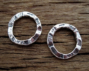 ONE Rustic, Organic, Sterling Silver, Artisan, Closed Jump Rings and Links in Sterling Silver (one link) (C) (N)