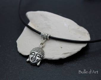Necklace * Buddha head * on a black leather cord
