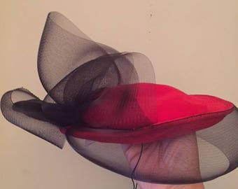 Vintage Hat by Peter Bettley Made in England, Red Velvet, Black Bow
