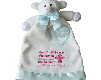 Baptism Lamb Blanket, Christening Blanket, Personalized Embroidery Gifts, Baby Girl Baptismal Gift 15x9