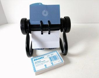 Rolodex card file, Unused Alphabet Cards, Index Card Holder Petite Black Telephone Address Email Organizer