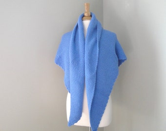 Large Knit Shawl, Sky Blue, Prayer Shawl, Cozy Shawl Wrap, Hand Knit Knitted, Triangle, Made in USA
