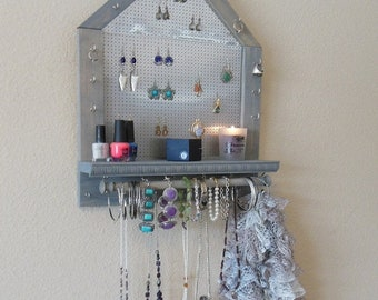 BIG SALE 20% OFF Rustic Jewelry Organizer, Jewelry Storage, Wall Mounted Jewelry Organizer, Pentagon Shape