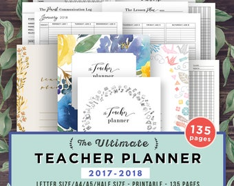 Teacher Planner 2017-2018, Lesson Planner Printable, Academic Planner, classroom roster, agenda, letter paper plan, A4 A5 Half Editable PDF