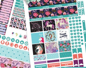Unicorn Monthly Kit Planner stickers for use with Erin Condren LifePlanner, Unicorn Planner Stickers Instant Download, Filofax, Plum Paper