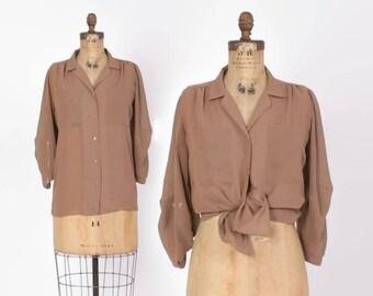 Vintage 80s Mocha Blouse / 1980s Semi Sheer Draped Loose Fit Top