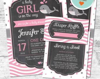 Whale Baby Shower Invitation, Whale Invitation, Pink, Gray, Polka Dots, Waves, Chalkboard | DIY