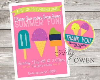 Sweet Summer Fun Birthday Party Invitation with Thank You Tags