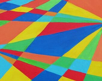 Crossroads- 12x12 Original Contemporary Geomtric Acrylic Paintin on Canvas