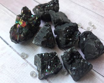 Black Iridescent Druzy Agate Rock Chunk Nugget Beads Jewelry Making & Beading Supplies