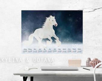 Calendar 2018 horse photo Shir Large Wall art Printable A3 A2 Calendar One Page At glance calendar Annual Calendar office decor home