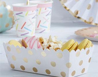 Polka Dot Food Tray, Metallic dotted food tray, Foil dot food tray, Paper food tray, paper partyware