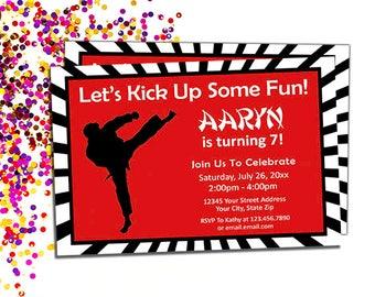 Martial Arts Einladung - druckbare Karate Geburtstag Party-Einladungen, DIY Ninja Geburtstag lädt ein, tritt in einigen Spaß, digitaler Download