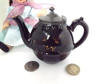 Victorian Childs Teapot, Miniature Black Jackfield Tea pot with Pewter Lid, Antique Childs Toy, Dolls Teapot / Collectiible Cottage Decor