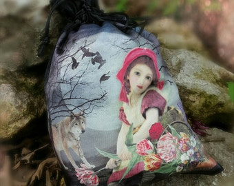 Silk Tarot Bag - Little Red Riding Hood - Tarot Pouch - Divination Supplies - Crystal Pouch - Wolf Gifts