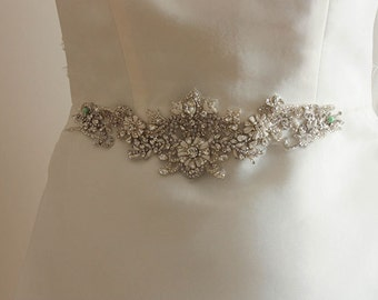 Bridal sash in offwhite, ivory and silver  - Marion 9 inches ( Made to Order)