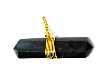 1 (ONE) Black Agate Point Pendant- Double Terminated Wire Wrapped Pendant - Gold Tone - Chakra - Healing - Metaphysical - RK50B15b-03