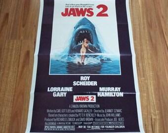 Vintage 1978 Original Jaws 2 Film Movie Poster US One Sheet Horror Thriller Surfing